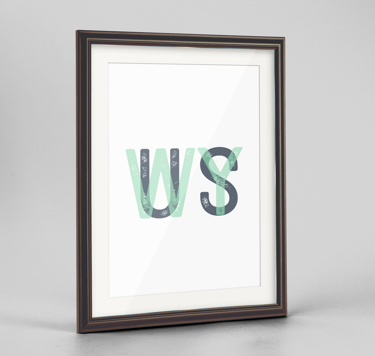 "Wyoming Word Art Frame Print - ""Initials"""