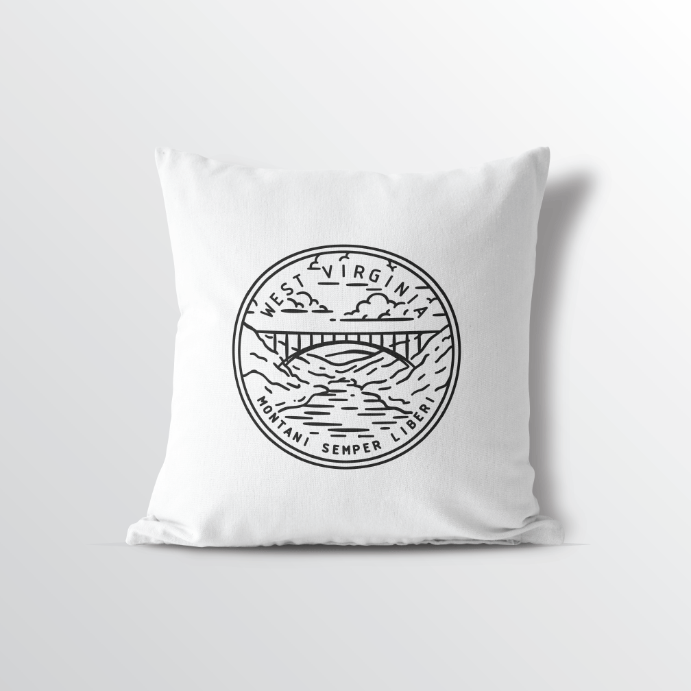 West Virginia State Crest Throw Pillow