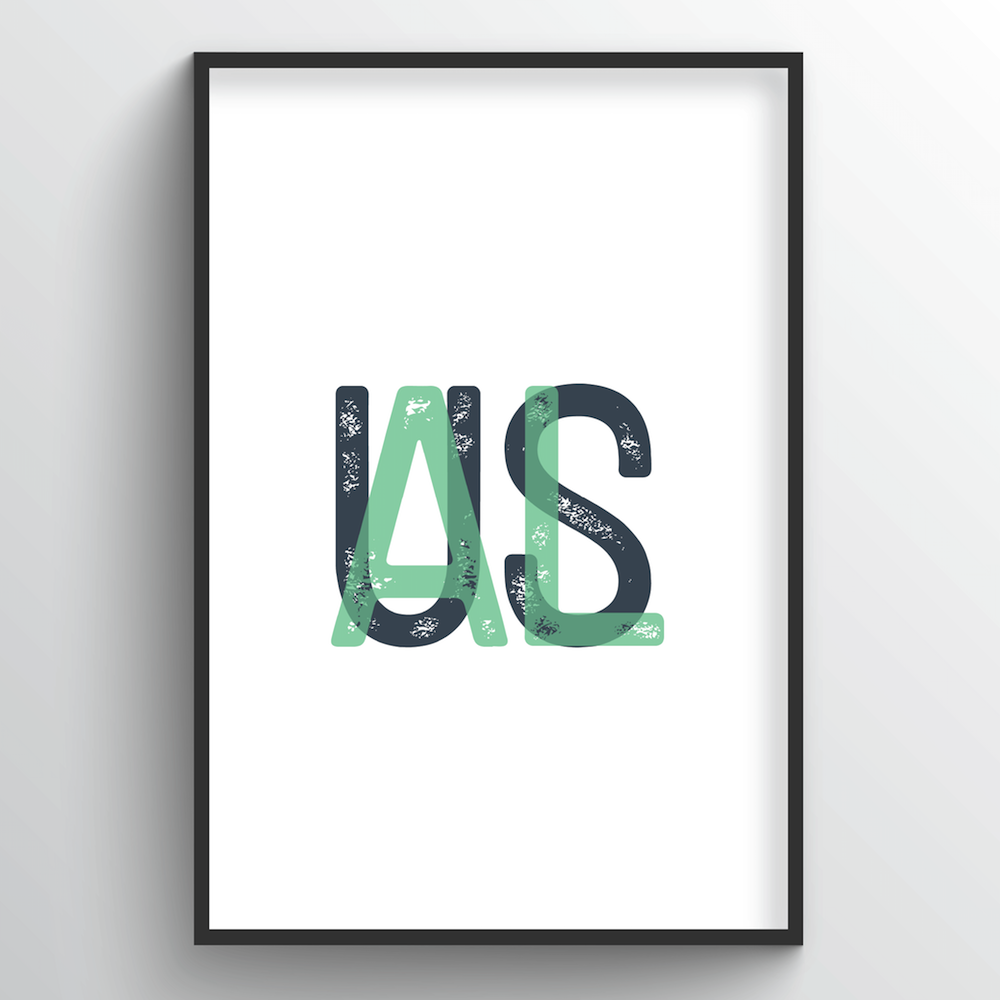 "Alabama Word Art Print - ""Initials"" - Point Two Design"