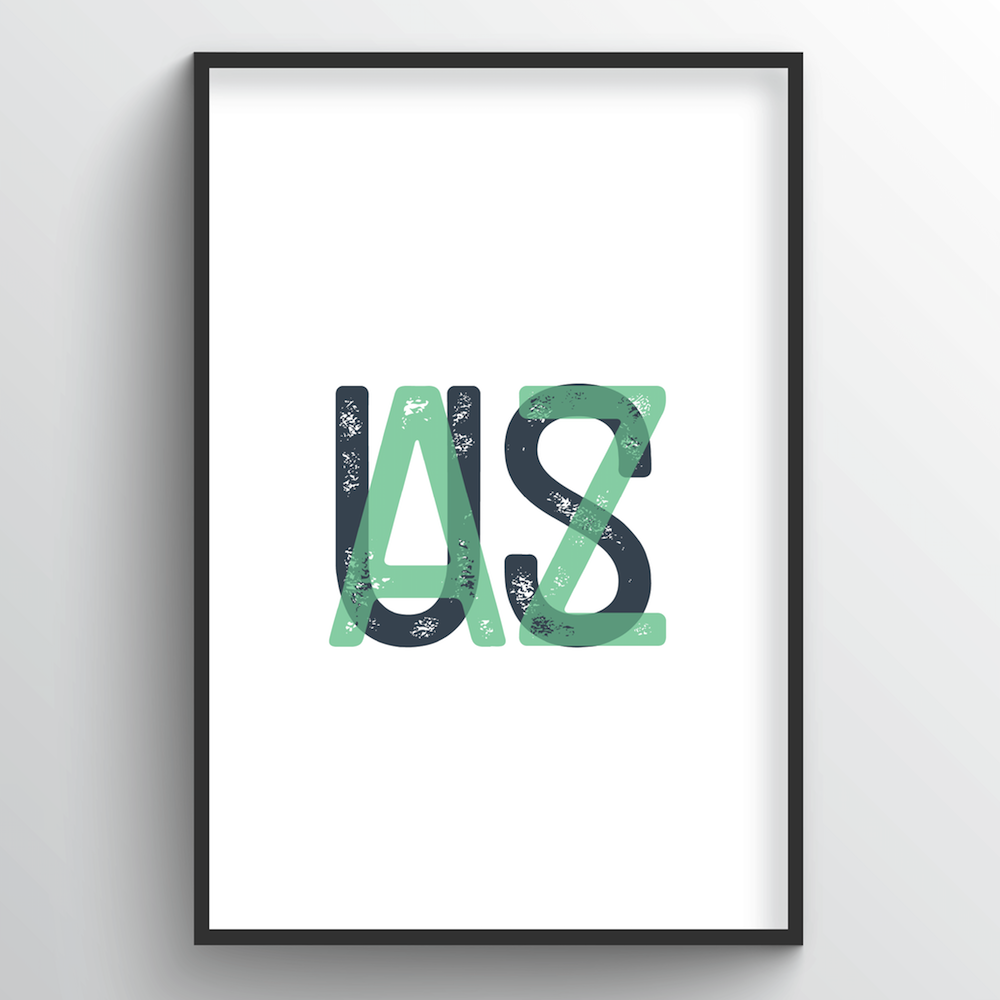"Arizona Word Art Print - ""Initials"" - Point Two Design"