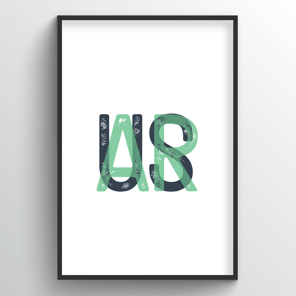 "Arkansas Word Art Print - ""Initials"" - Point Two Design"
