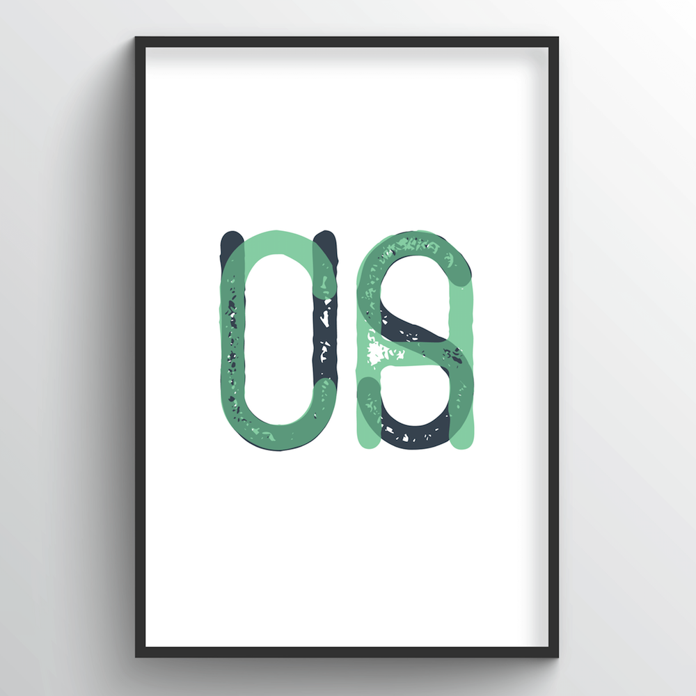 "California Word Art Print - ""Initials"" - Point Two Design"