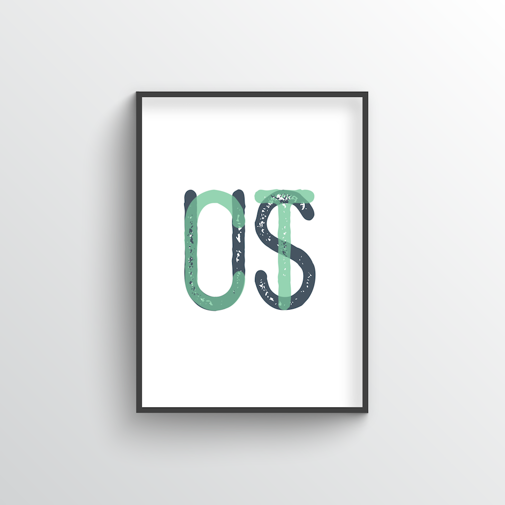 "Connecticut Word Art Print - ""Initials"" - Point Two Design"