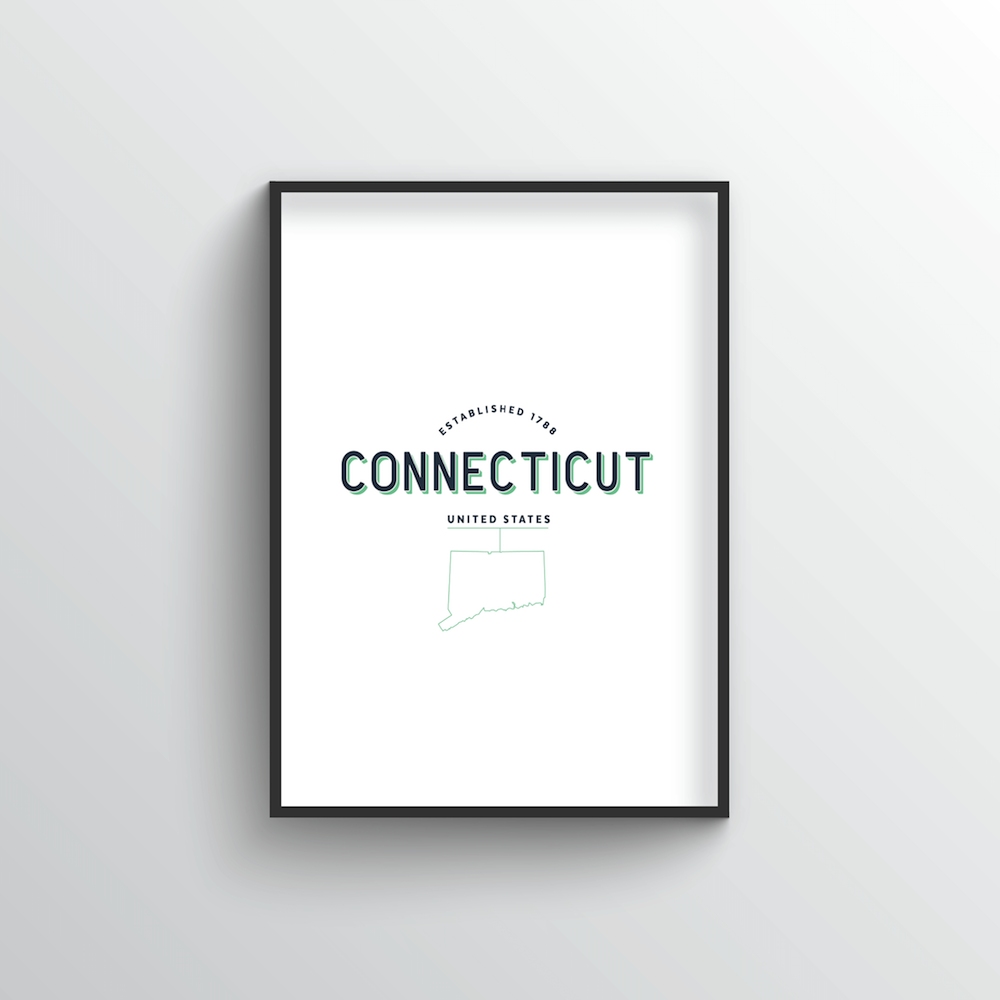 Connecticut Word Art Print - State Line - Point Two Design