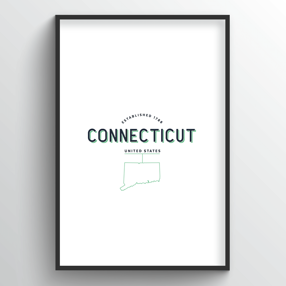 Connecticut Word Art - State Line - Point Two Design