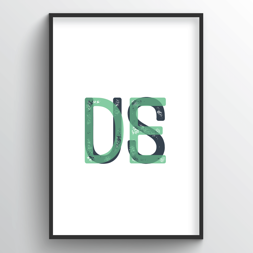 "Delaware Word Art Print - ""Initials"" - Point Two Design"