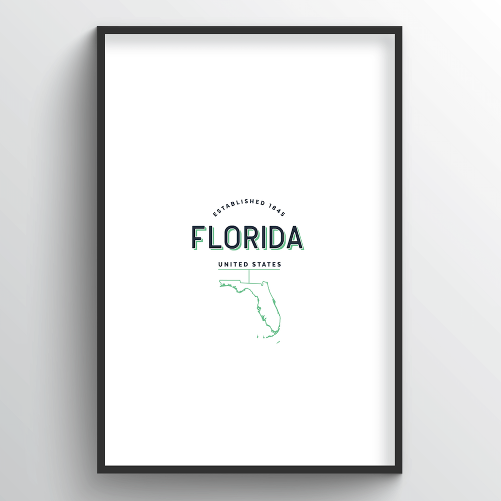 Florida Word Art Print - State Line - Point Two Design