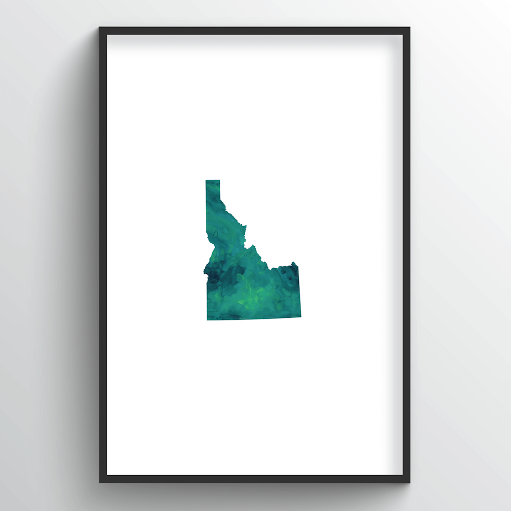 "Idaho Word Art - ""Watercolor"""