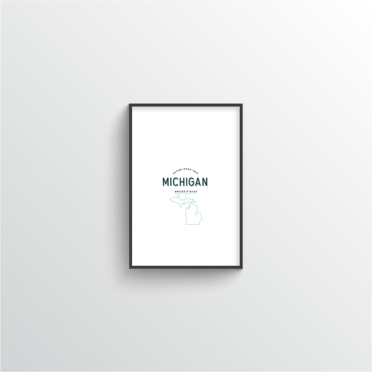 Michigan Word Art Print - State Line