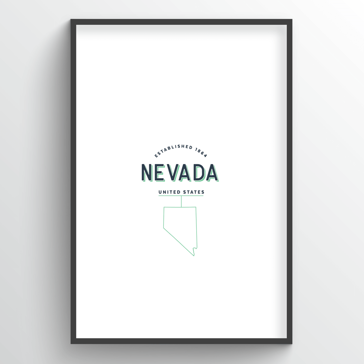 Nevada Word Art Print - State Line