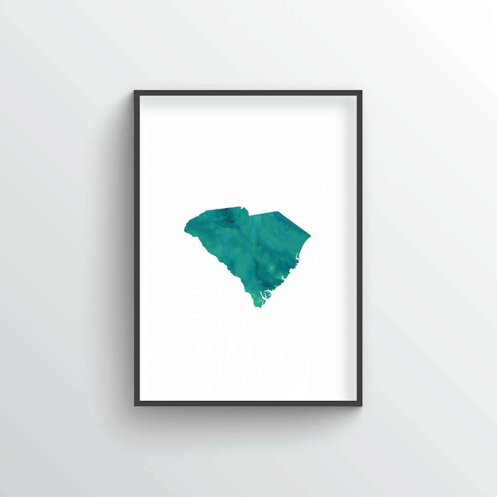 "South Carolina Word Art Print - ""Watercolor"""