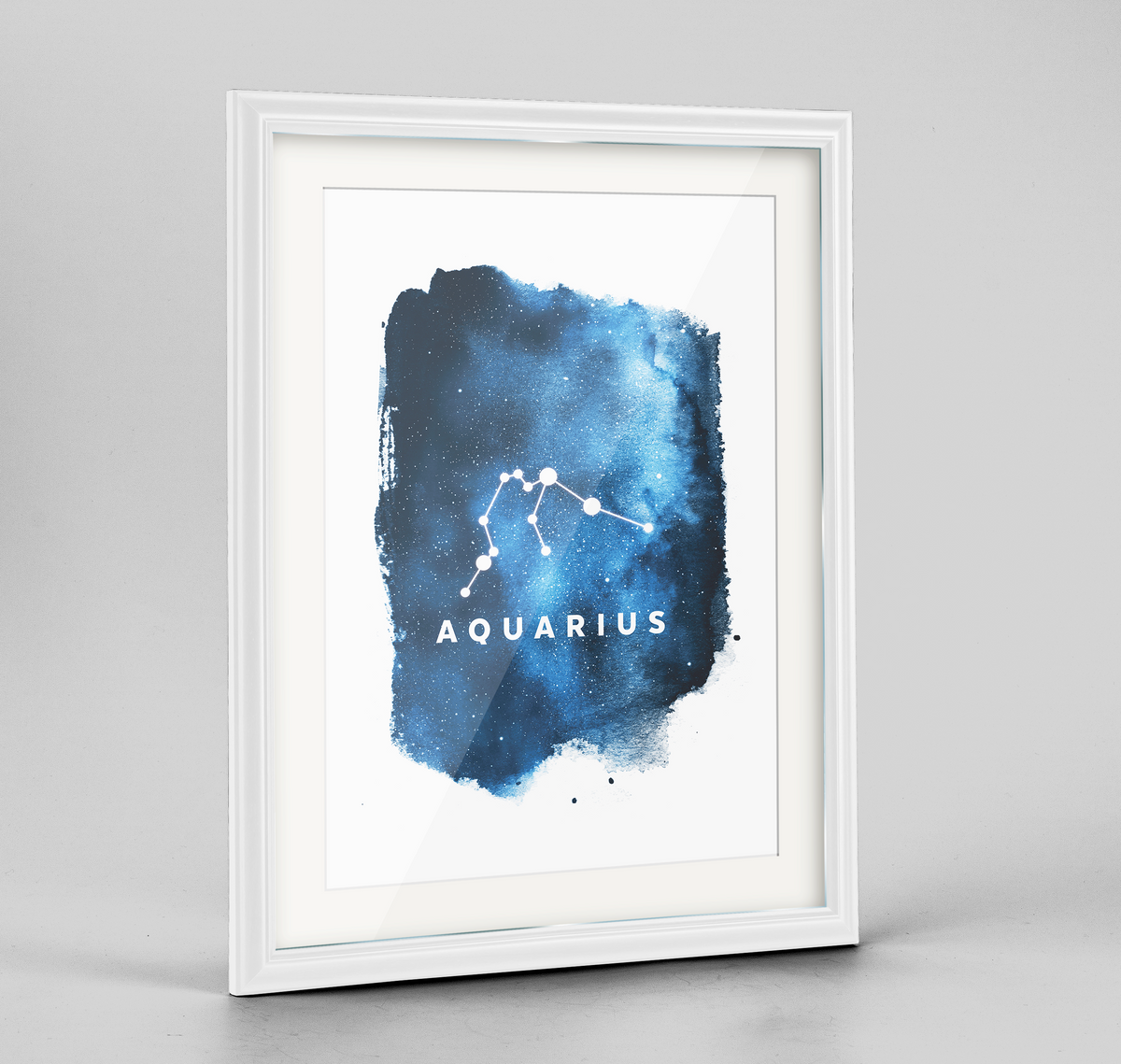 Zodiac Art Print - Aquarius - Framed