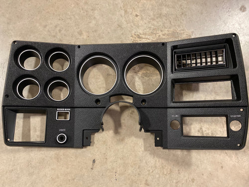 1973-1974 Dash Bezel, Black with Silver Trim