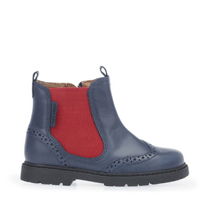 Start Rite DIGBY Navy Blue Leather Zip-up Boots
