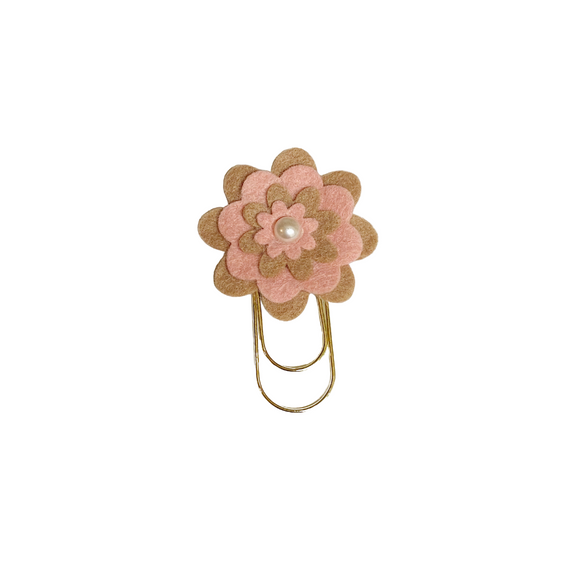 Brown with Pink Flower Paper Clip