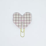 Beige Plaid Bow Paper Clip
