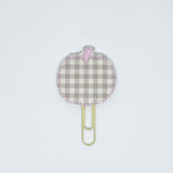Beige Plaid Pumpkin Paper Clip