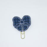 Blue Plaid Bow Paper Clip