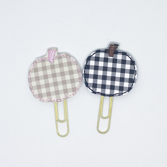 Plaid Pumpkin Paper Clips