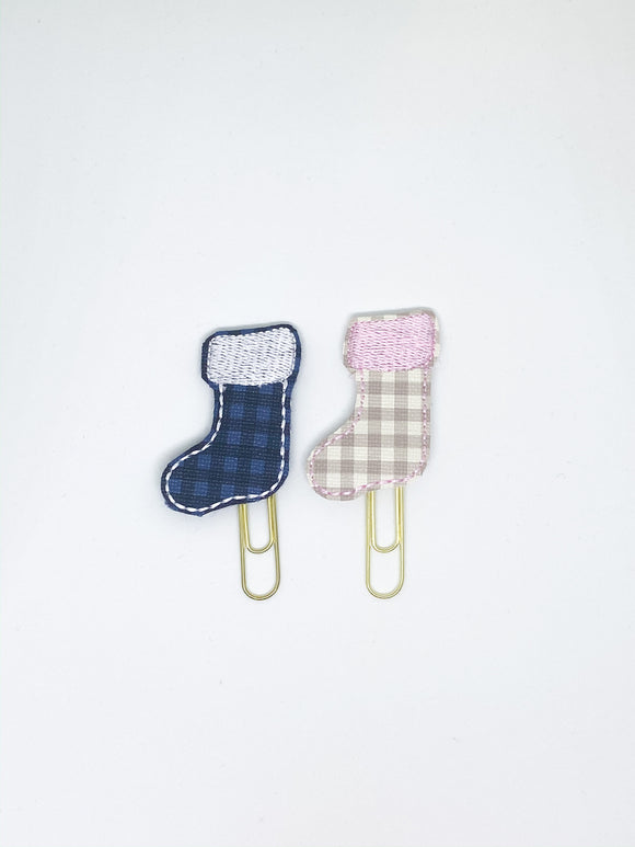 Plaid Stocking Paper Clips