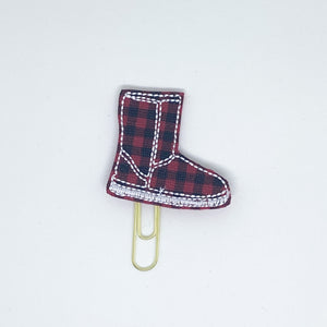 Red Plaid Boot Paper Clip
