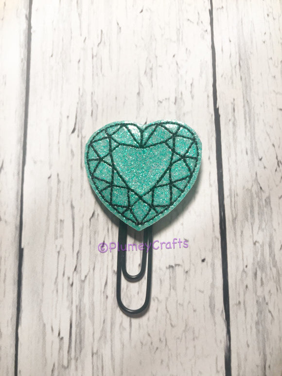 Diamond Heart on Black Paper Clip