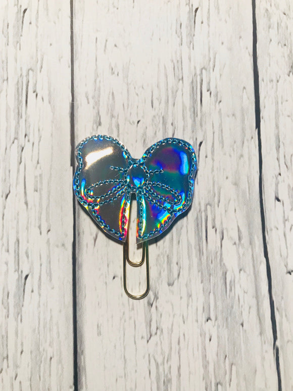 Holographic Bow with Blue Stitching Paper Clip
