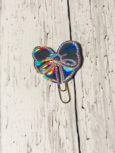 Holographic with Pink Stitching Bow Paper Clip