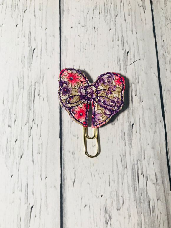 Purple and Pink Flowers Bow Paper Clip