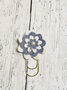 White and Grey Flower Paper Clip