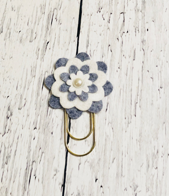 Grey and White Flower Paper Clip