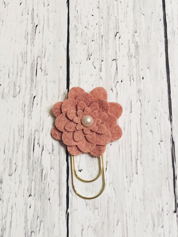 Dusty Pink Flower Paper Clip