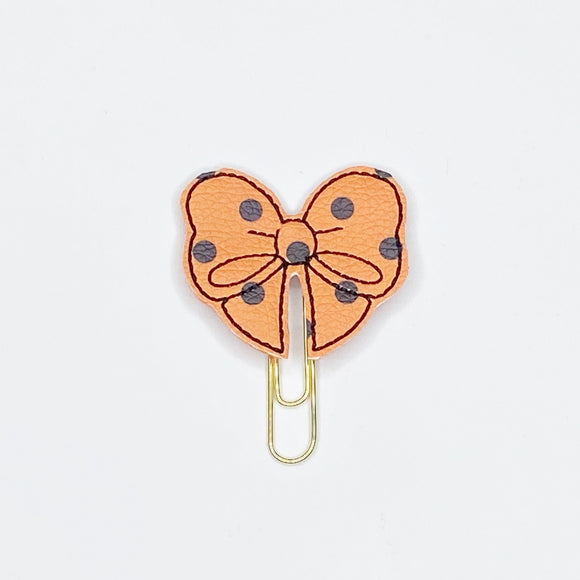 Orange Polka Dot Bow Paper Clip