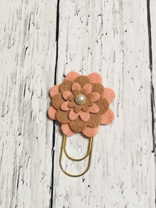 Pink and Brown Flower Paper Clip
