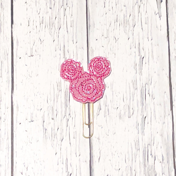 Mouse Pink Rose Paper Clip