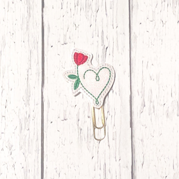 Flower Heart Paper Clip