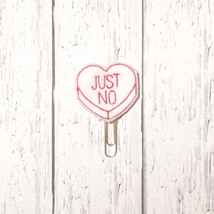 Just No Conversation Heart Paper Clip