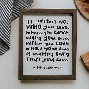 framed wall art john lennon quote