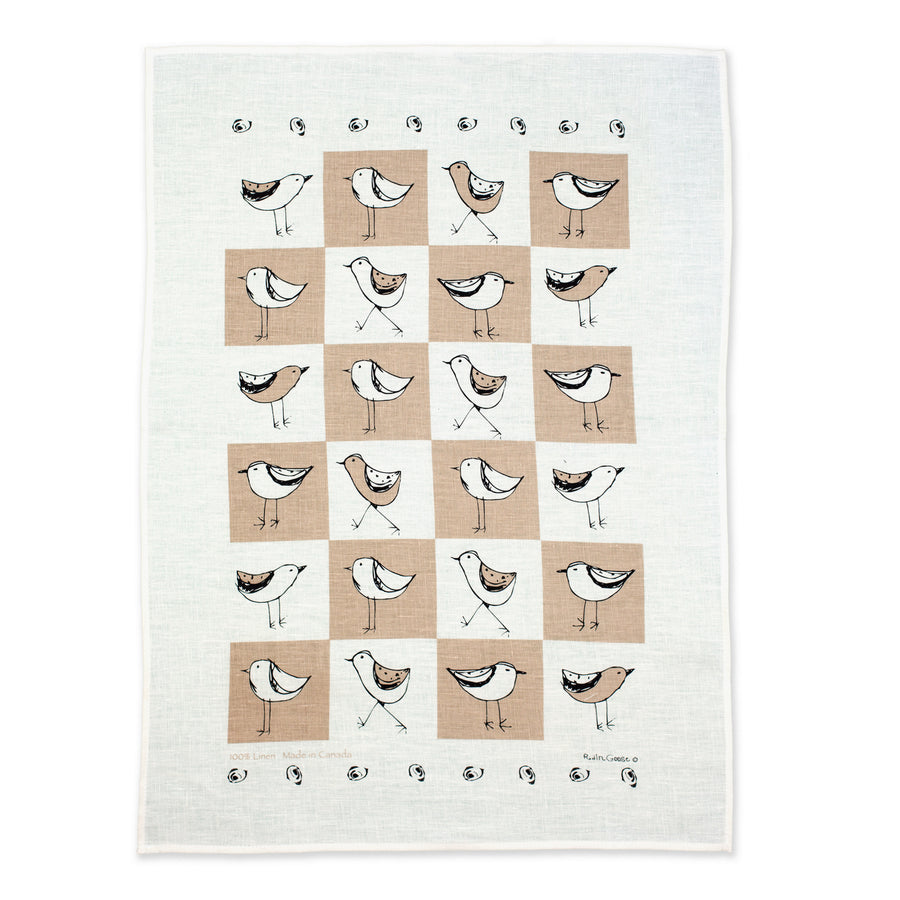 Checked Bird Tea Towel