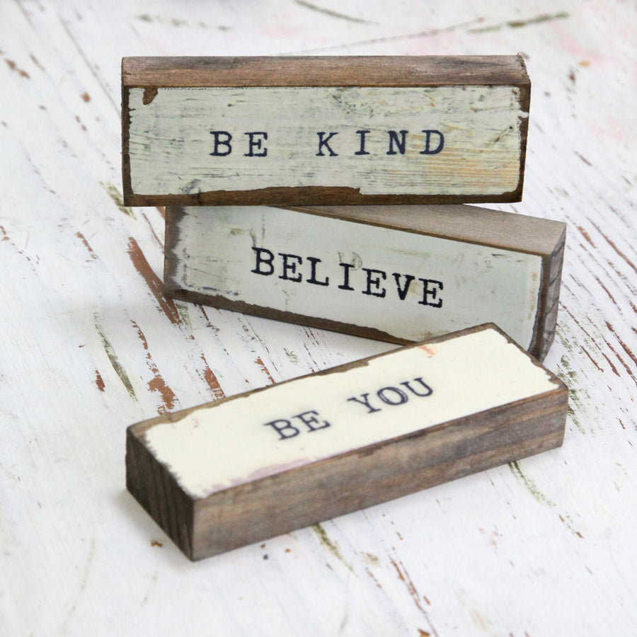 Timber Bit Art Blocks - Be Kind, Believe, Be You