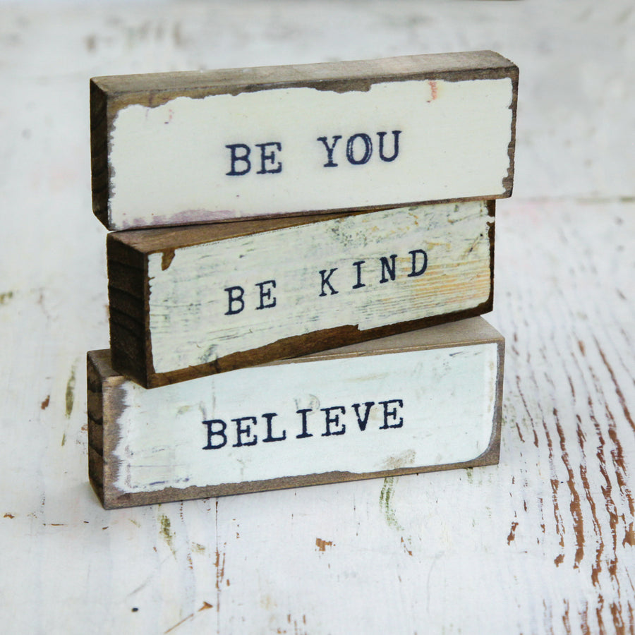 Timber Bit Art Blocks - Be You, Be Kind, Believe