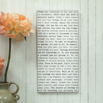 Gratitude - Typewriter Wall Art