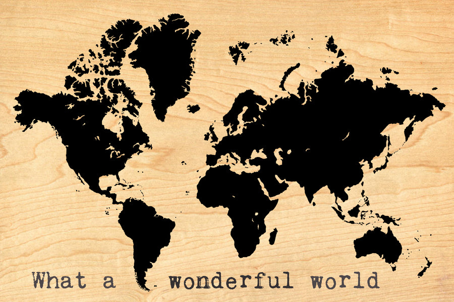 Wood Postcard -Wonderful World