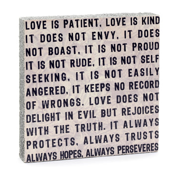 Wood Art Block - love is patient