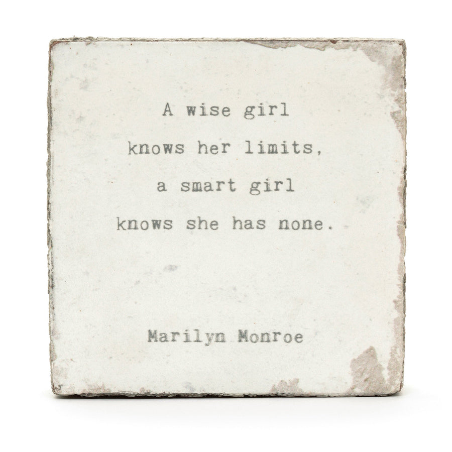 wood art block marilyn munroe a wise girl quote