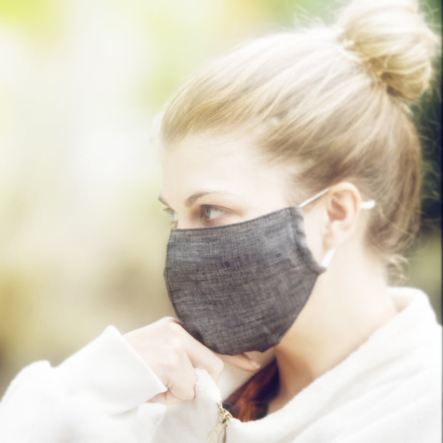 linen face mask dark grey