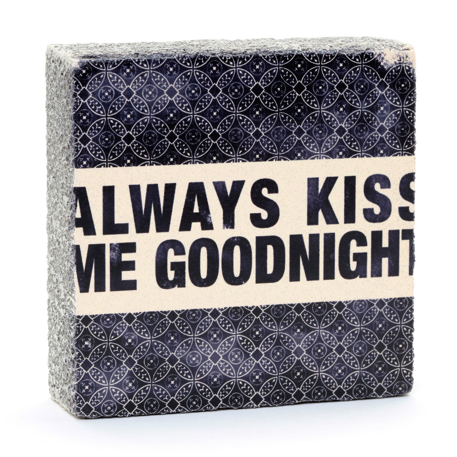 wood art block always kiss me goodnight