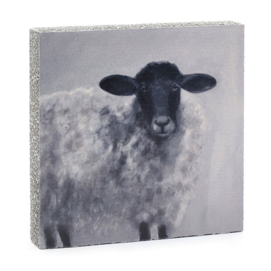 wood art block black faced sheep vikki fuller