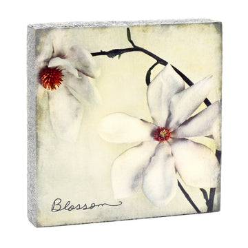 wood art block blossom flower