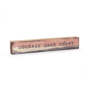 wood art block courage dear heart
